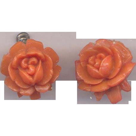 Pumpkin Celluloid Flower Screw on Earrings