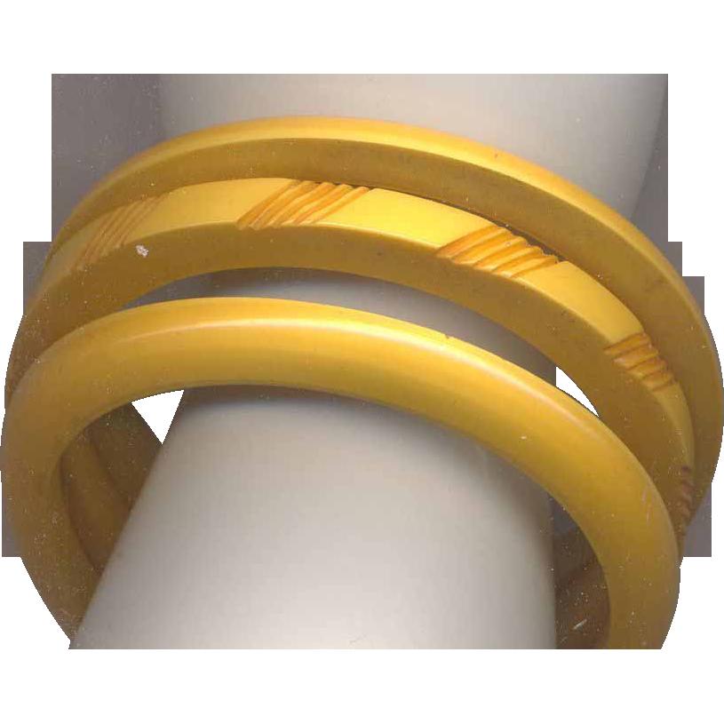 Butterscotch Bakelite 3 Layered Bangle Bracelet