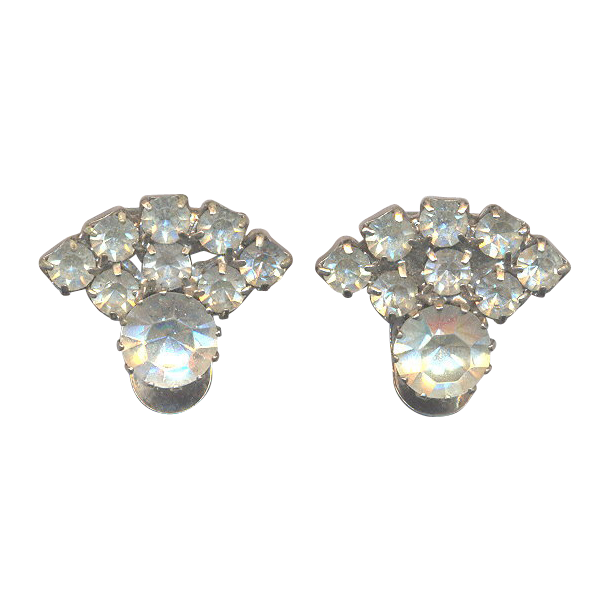 Vintage Marked Rhinestone Clips