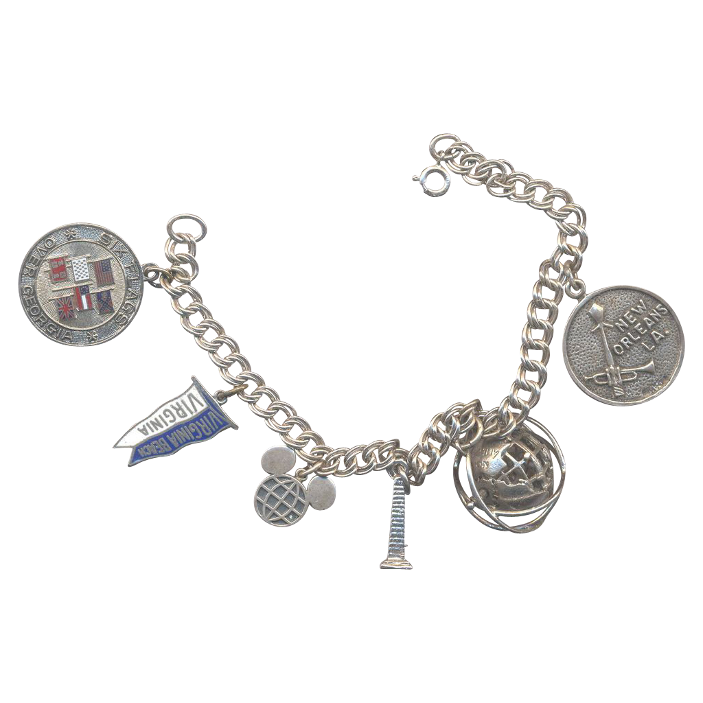 Sterling Travel Charm Bracelet with revolving globe charm