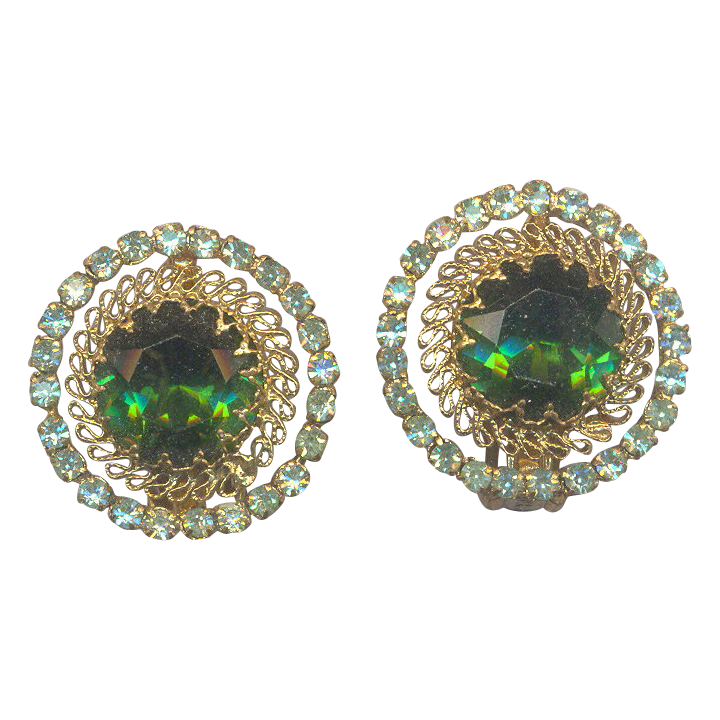 Emerald Green Rhinestone Clip on Earrings