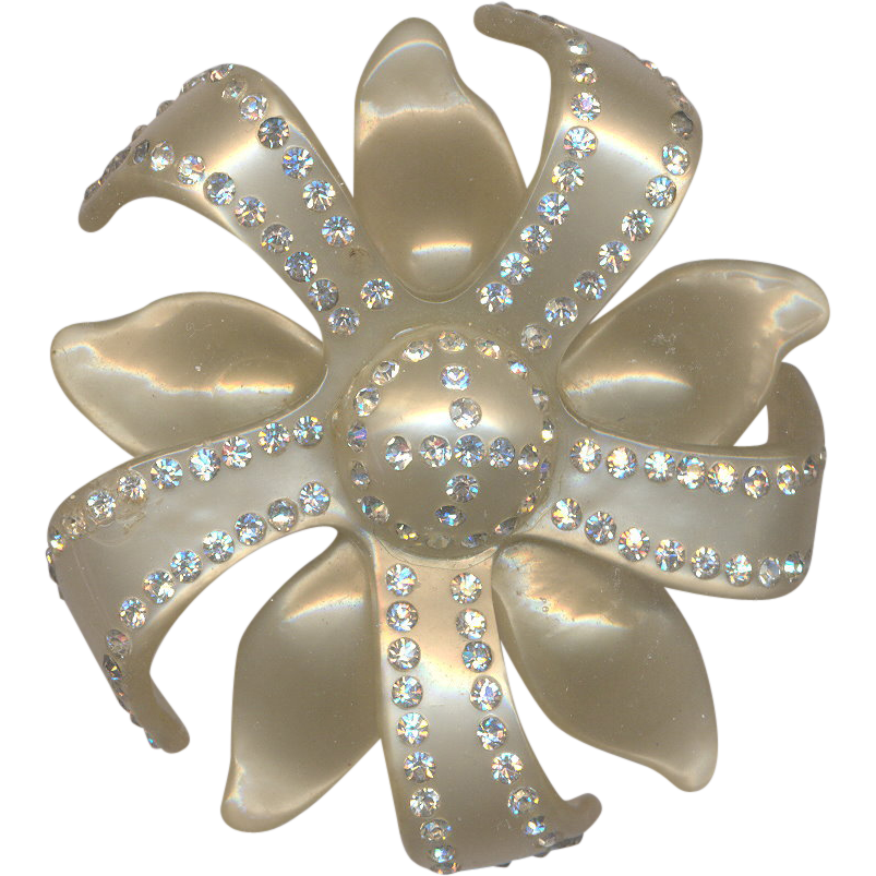 Pearly Vintage Cellulose with Rhinestones Brooch