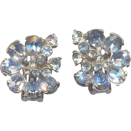 Blue and Clear Rhinestone HOLLYCRAFT Clip on Earrings