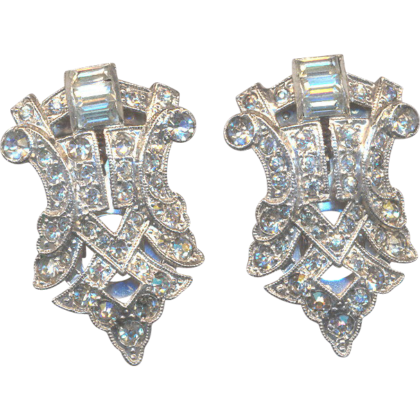 Excellent Vintage Clips with Rhinestones marked with Patent