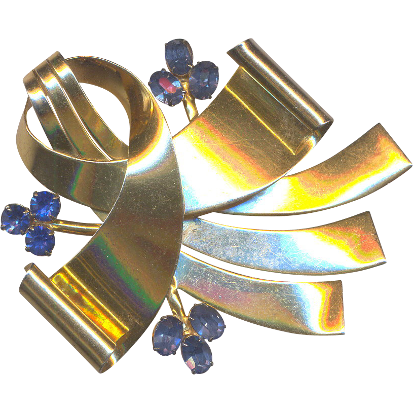 Sterling marked Retro Brooch with Blue Rhinestones