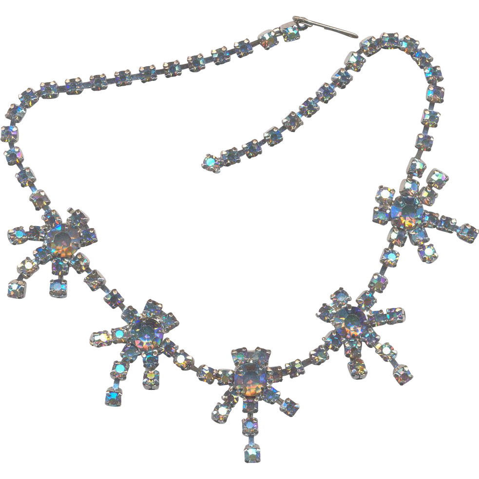 Blue AB Aurora Rhinestone Necklace