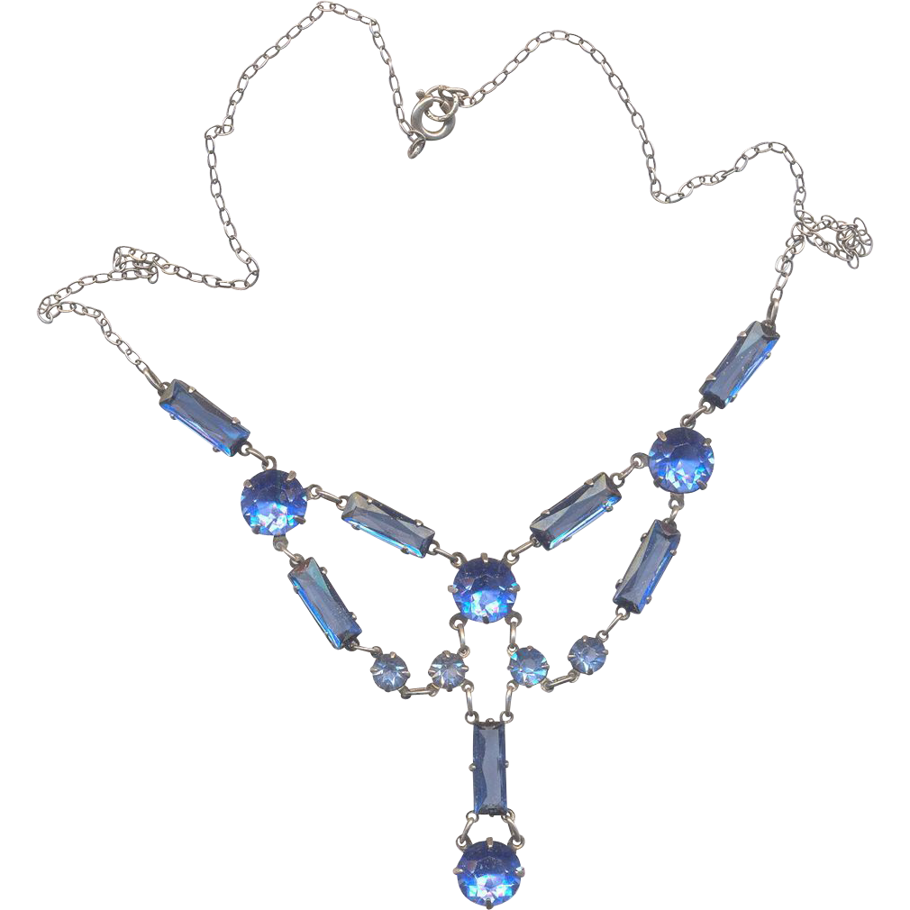 Sterling and Blue Stone Vintage Necklace