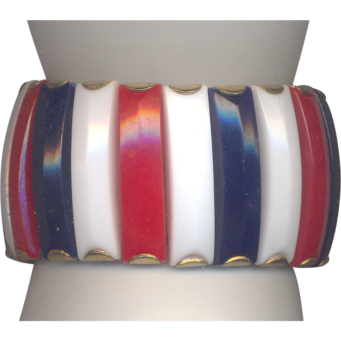 Red, White and Blue Plastic Stretch Bracelet marked Hong Kong