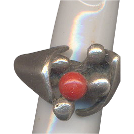 Sterling and Coral Ring