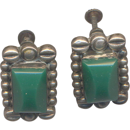 Sterling Mexican Screw on Earrings with Green Cabs marked