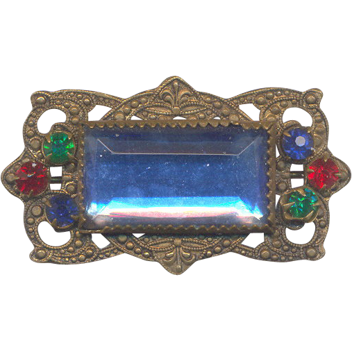 Vintage Brass with Blue, Red and Green Stone Brooch