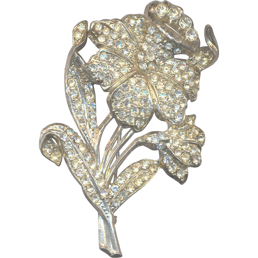 Vintage 40's Rhinestone Flower Brooch