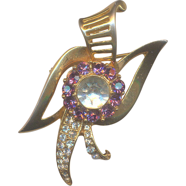Retro Brooch/Pendant with Purple Rhinestones