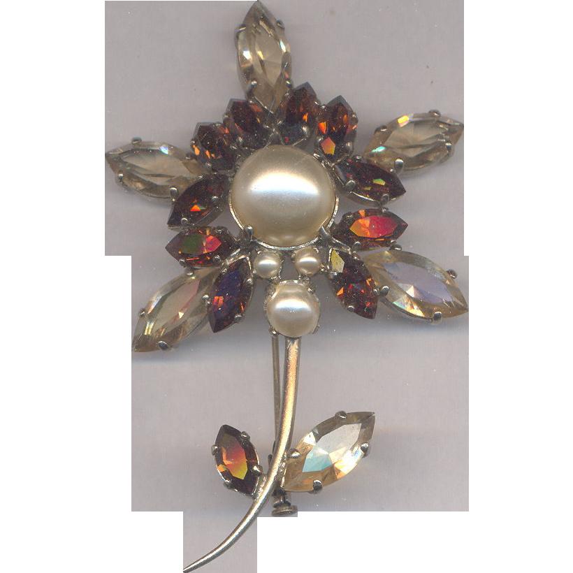 Rhinestone Flower Brooch for Fall