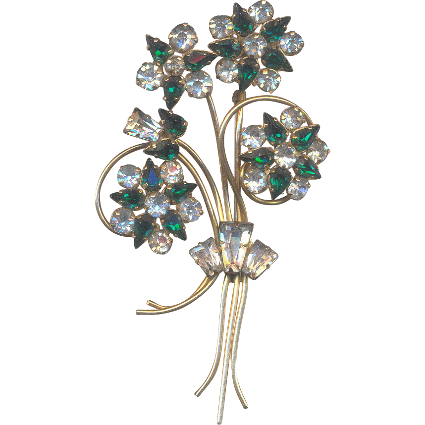 Star-Art Emerald Green Rhinestone Brooch/Pendant