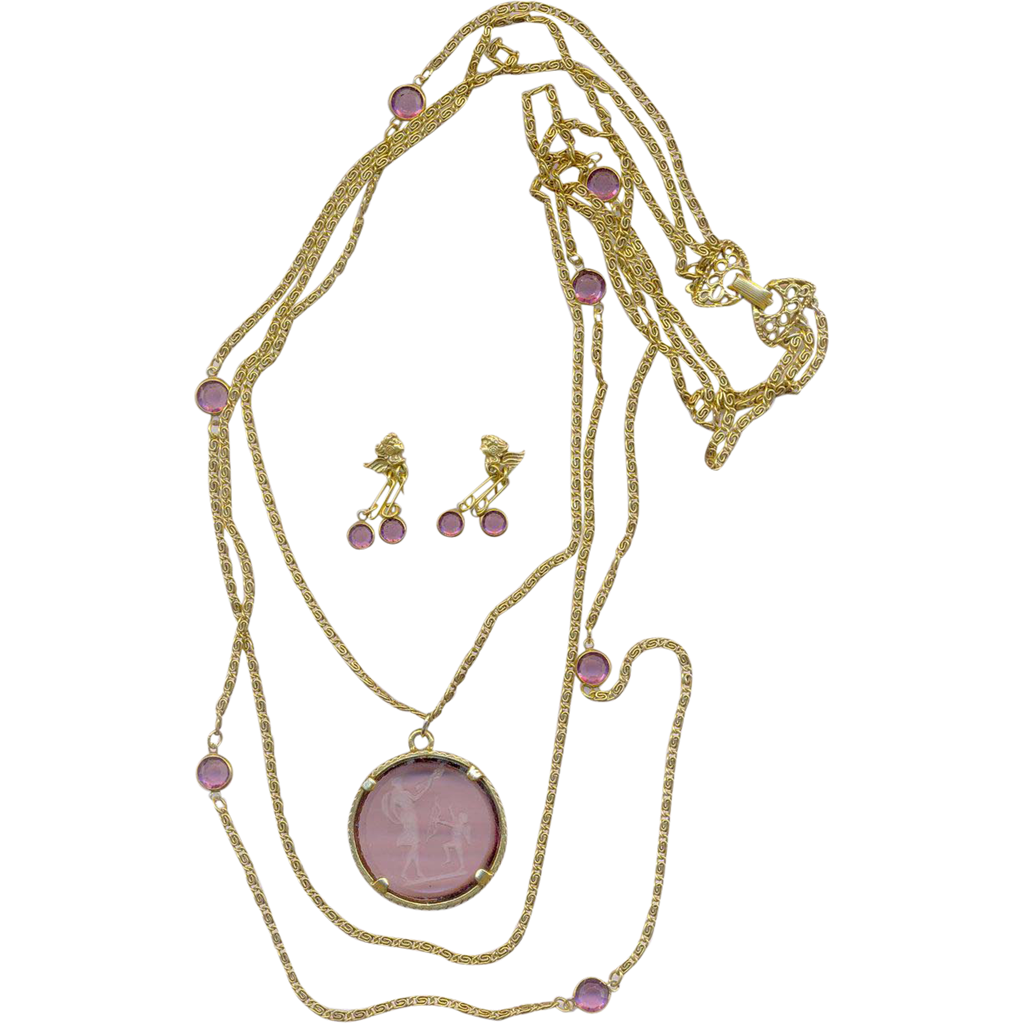 Vintage Goldette Intaglio Cupid Set Necklace and Earrings