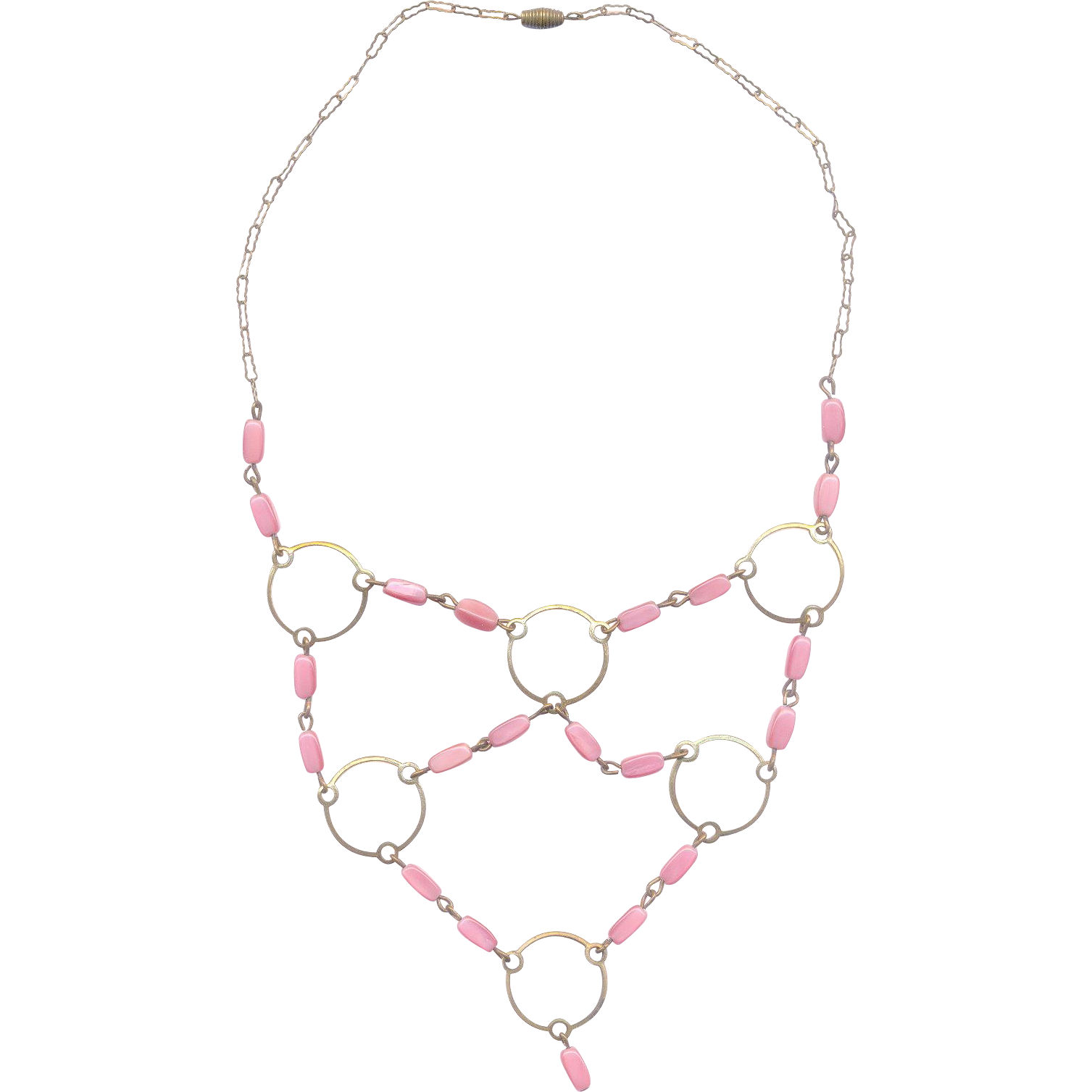 Deco Pink Glass Beaded Festoon Necklace