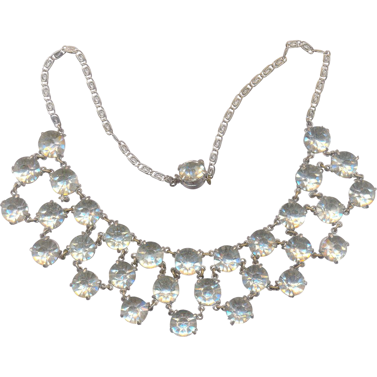 Unsigned Rhinestone Bib Necklace