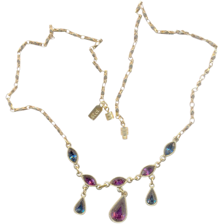Excellent 1928 Necklace With Purple and Blue Stones
