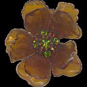 Large Vintage Cellulose Acetate Brooch with Rhinestones