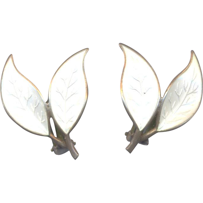 David Andersen Norway Sterling Double Leaf Earrings