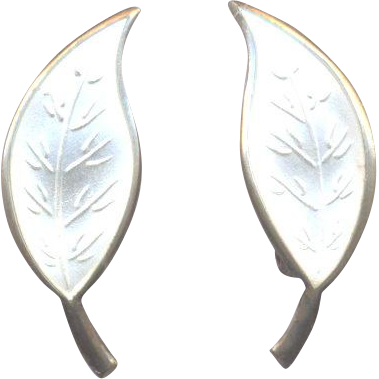 David Andersen Norway Sterling Single Leaf Earrings