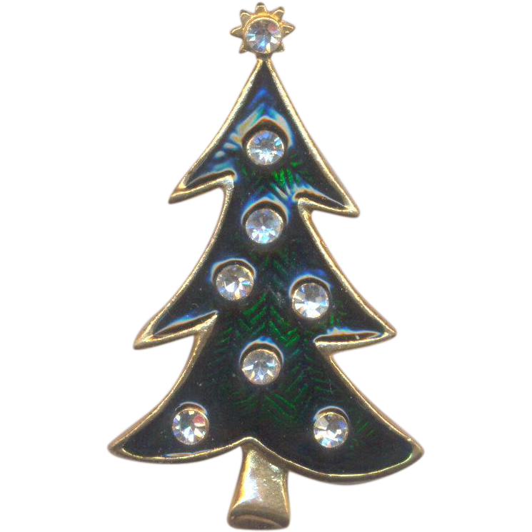 LIA Christmas Tree Brooch with Enamel and Rhinestones