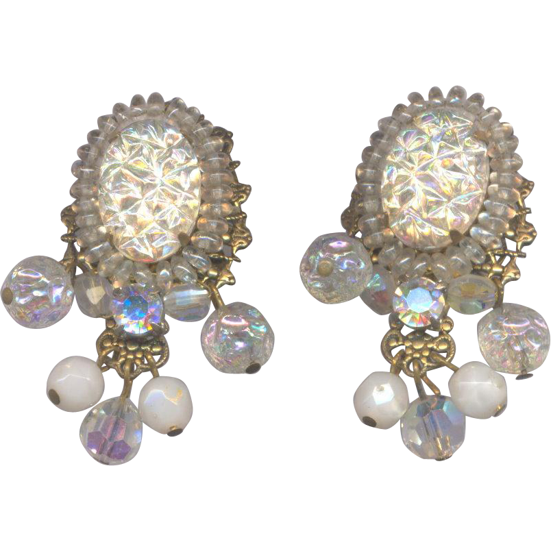 Vintage Unsigned Clip on Earrings with Frosty White Stones