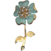 LEDO Large Flower Brooch with Rhinestones