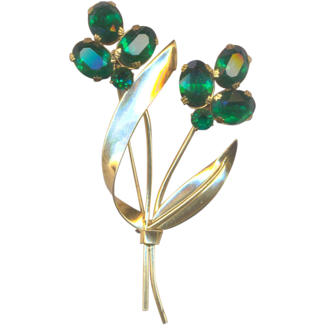 Vintage Coro Craft Sterling Brooch with Emerald Green Rhinestones