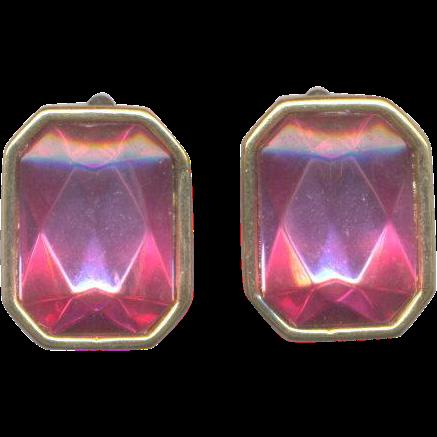 Trifari Pink Rhinestone Clip on Earrings