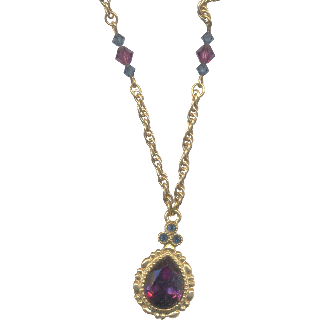 Vintage 1928 Necklace with Purple and Blue Stones