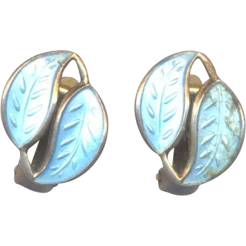 David Andersen Norway Sterling Blue Guilloche Earrings