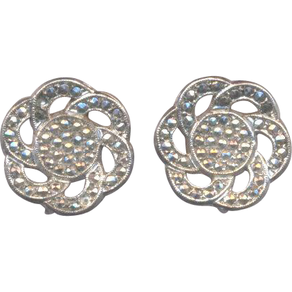 Sterling Marcasite Screw on Earrings
