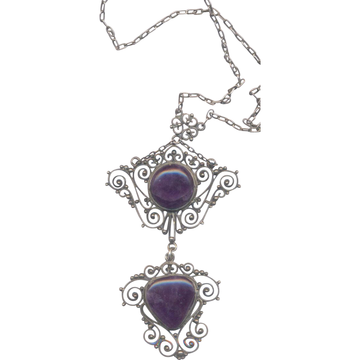 Silver Tone and Purple Stone Necklace