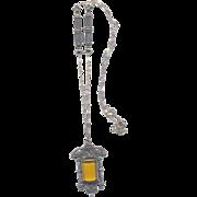 Nouveau Pendant Necklace with Citrine Glass Stone