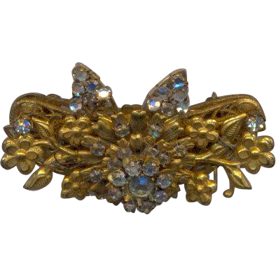 Unsigned Vintage Brooch with Rhinestones