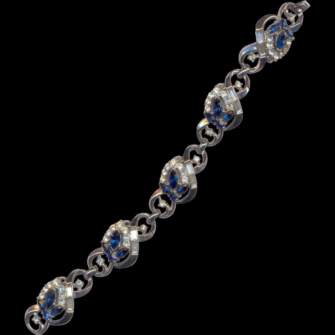 Trifari Sparkling Blue Rhinestone Bracelet