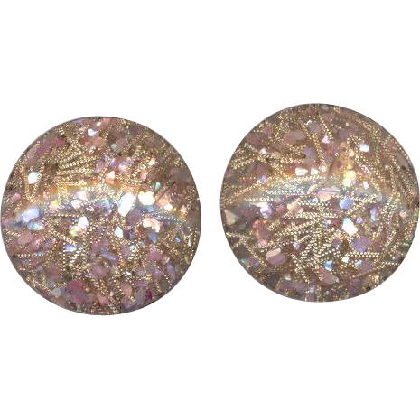 Pink Lucite Confetti Clip on Earrings