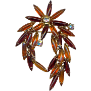 Fabulous Unsigned Amber Glass and Rhinestone Brooch