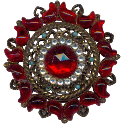 Large Red Vintage Brooch marked SA