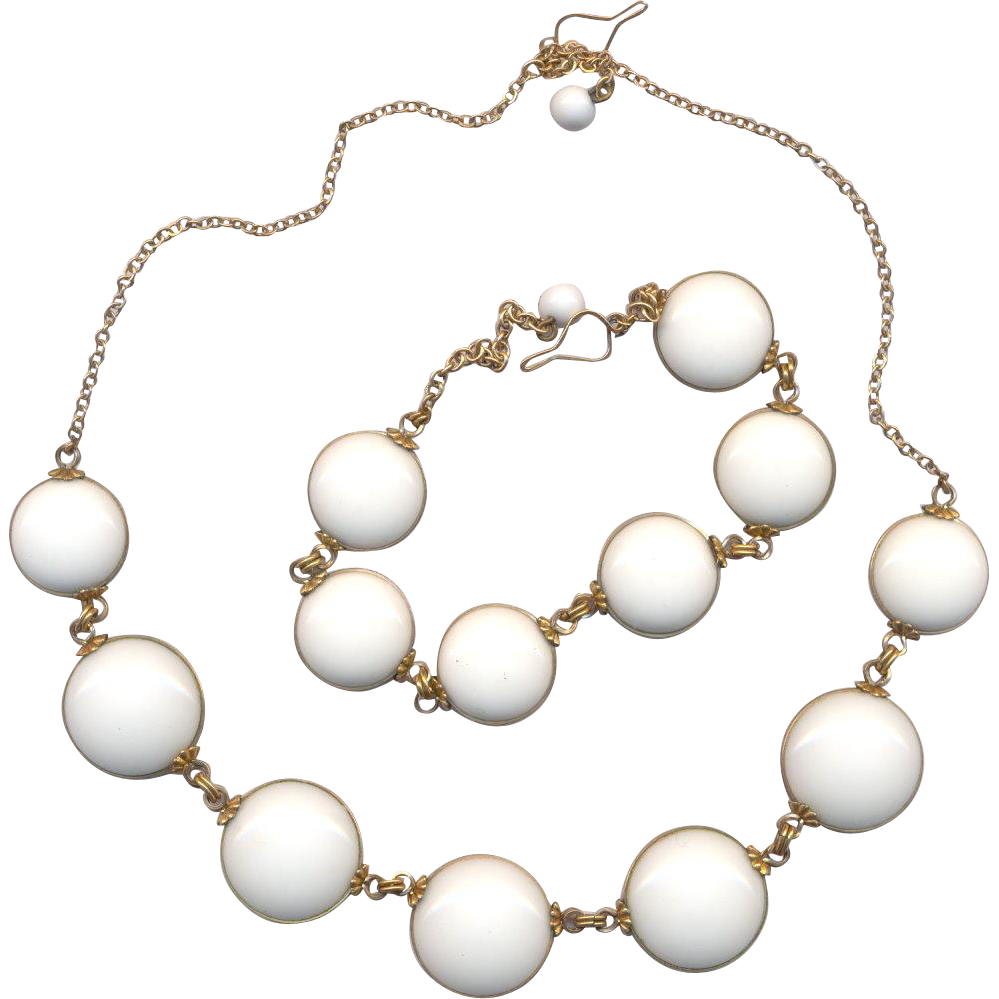 Vintage Gold Filled White Lucite Disc Necklace and Bracelet