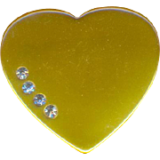 Lucite Butterscoch Heart Brooch with Rhinestones