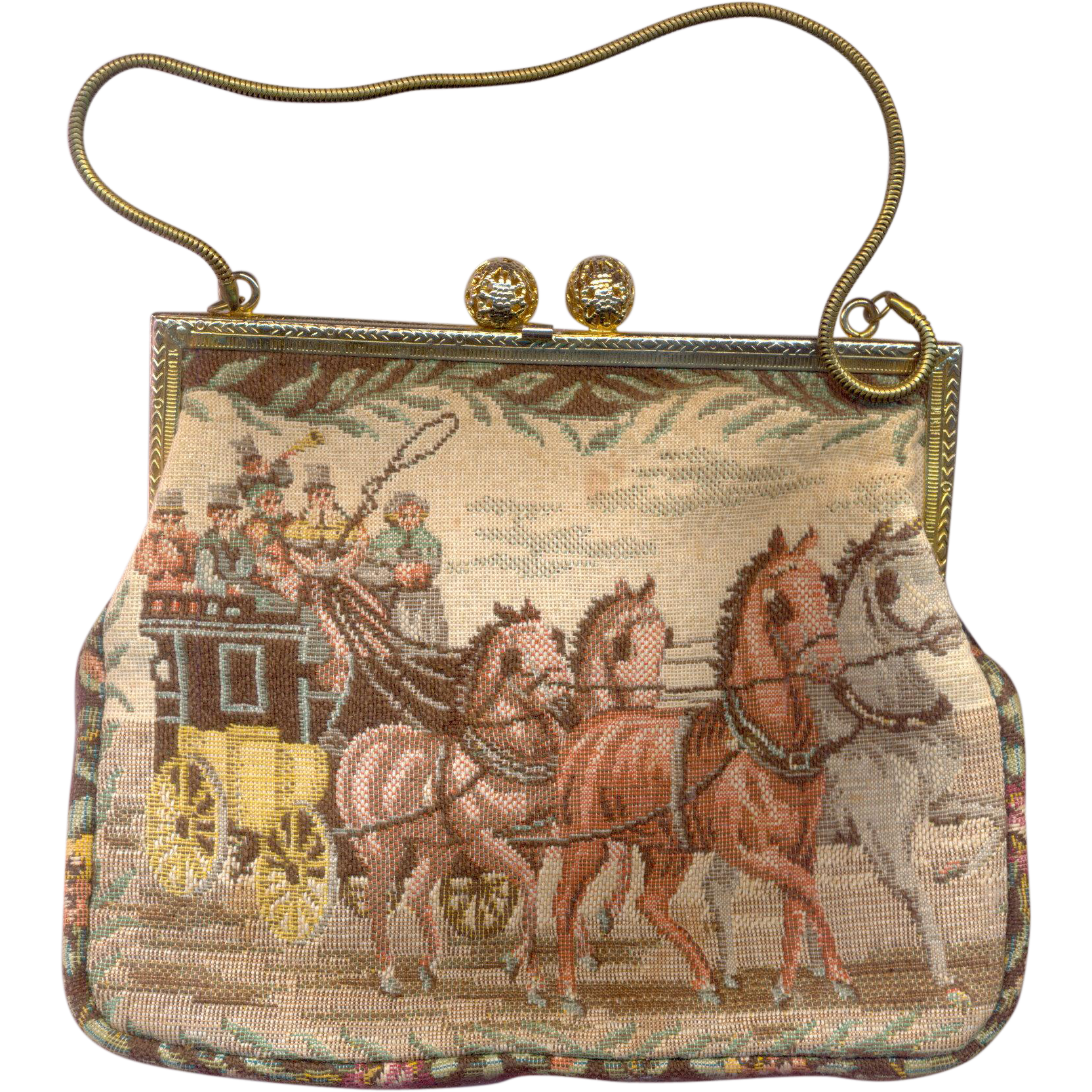 Vintage Made in W. Germany Tapestry Purse marked AP