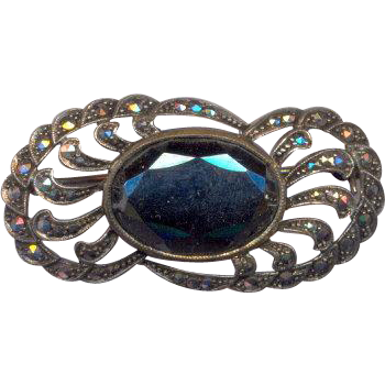 Sterling Marcasite and Hematite Brooch