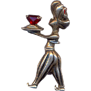 Vintage Sterling Genie Brooch with Red Stone