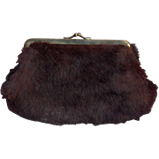 Vintage Mink Clutch Purse with Mirror