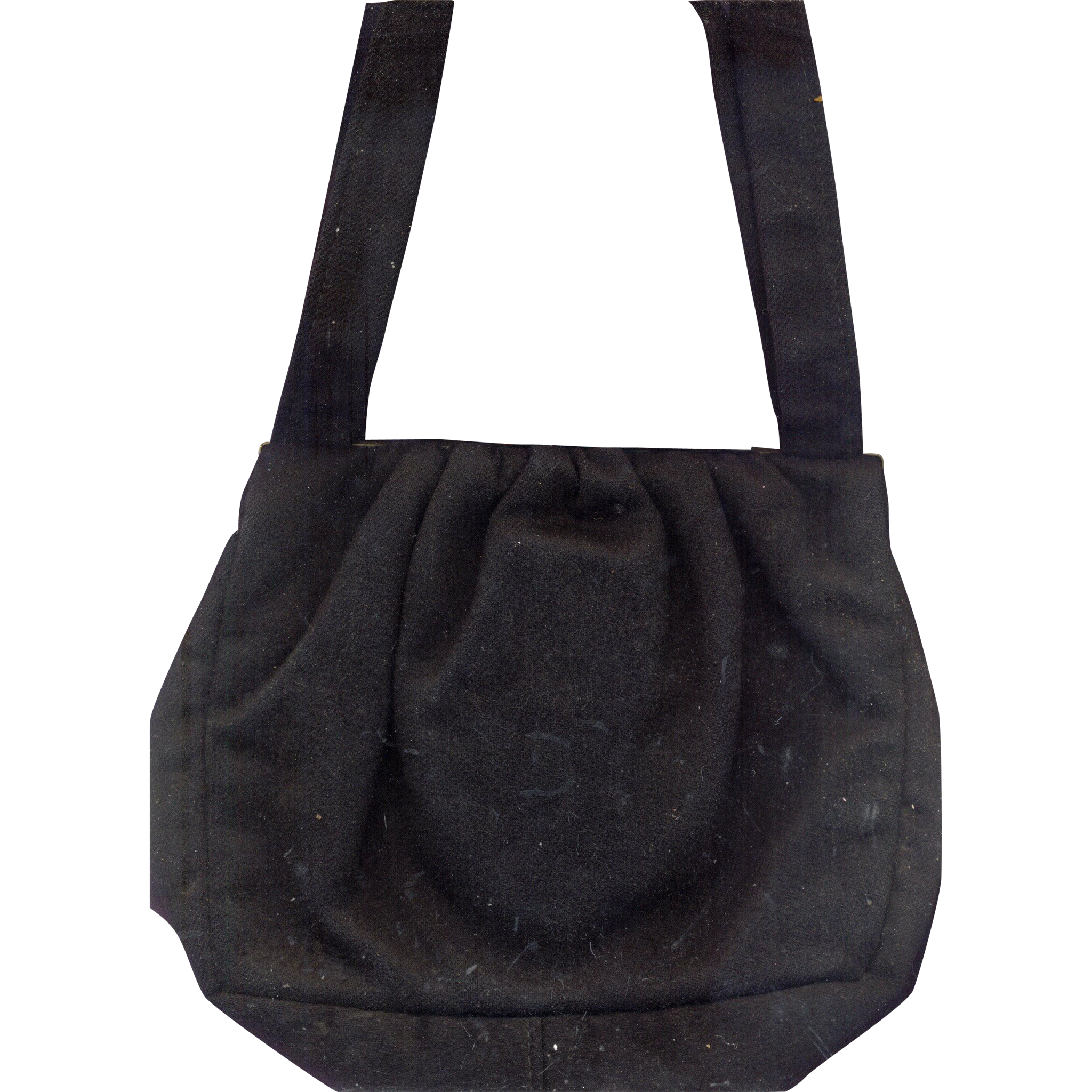 Vintage Black Wool Handbag with Lucite Clasp