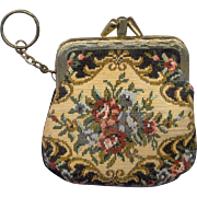 Vintage Pettipoint Change Purse Key Chain
