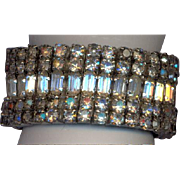 Wide Vintage Stretch Rhinestone Bracelet